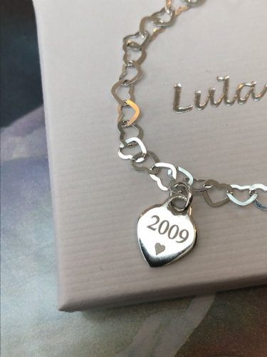Birthday  gift bracelet with year of birth - FREE ENGRAVING